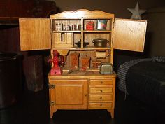 Vintage Child Doll House Size Hoosier Cabinet filled with Vintage Accessories NR