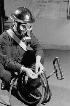 ARP Warden Britain during the Second World War. Important because the invention of gas masks was very important in survival in WW2.