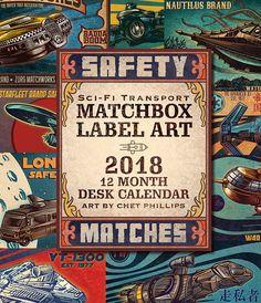 2018 Matchbox Art Desk Calendar Sci Fi Transport Theme