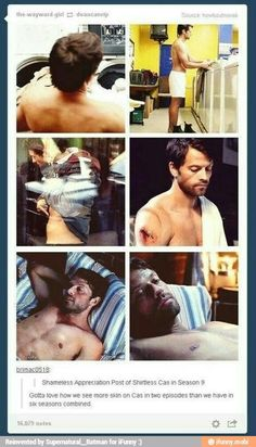 Shameless appreciation post of shirtless Castiel in season 9 Supernatural Supernatural Destiel, Castiel, Jared Padalecki, Jensen Ackles, Impala 67, Sherlock, Medici Masters Of Florence, Fangirl, Winchester Boys