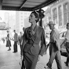 Genevieve Naylor, Mary Jane Russel wearing a wool day suit, 1950..