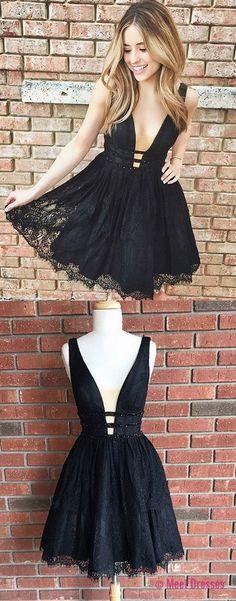 black homecoming dresses,deep v-neck homecoming dresses,short homecoming dresses PD20186090