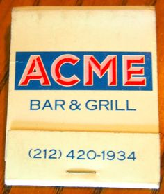 Acme Bar & Grill, NYC. 20 stem #matchbook To order your business' own branded #matchbooks go to www.GetMatches.com or call 800.605.7331 today!