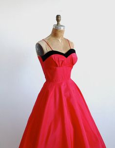red 1950's party dress