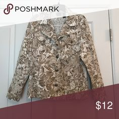 Jacket Jean style jacket with chest button flap pockets and waist level side pockets; cotton and spandex blend Additions by Chico's Jackets & Coats Jean Jackets