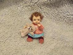 Miniature handmade MINI BABY GIRL TODDLER SCULPT ooak DOLLHOUSE  DOLL HOUSE 1/12