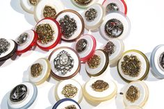 Lot of 25 Buttons Plastic Military and Coat of arms by scrapitsideways, $3.50