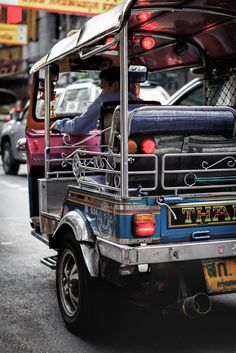 Riding in a tuk-tuk in Bangkok