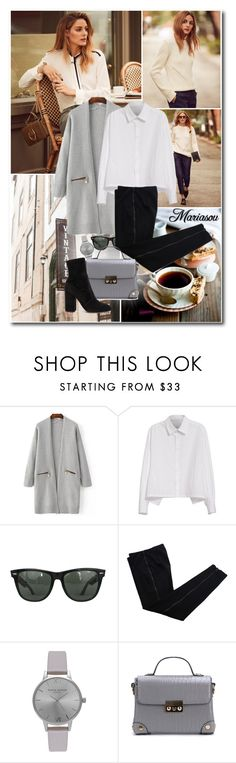 """Olivia Palermo Banana Republic 2016"" by mariasou ❤ liked on Polyvore featuring Banana Republic, Y's by Yohji Yamamoto, Ray-Ban, COSTUME NATIONAL, Olivia Burton, Valentino, Fall, white, black and grey"