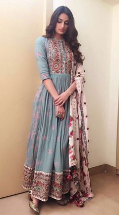 indian fashion Anarkali -- CLICK Visit link to see Dress Indian Style, Indian Dresses, Indian Attire, Indian Ethnic Wear, Pakistani Outfits, Indian Outfits, Pakistani Fashion Casual, Indian Clothes, Desi Wear