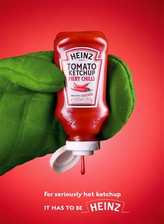 This is advertising a special edition of heinz tomato ketchup. The product is being held in an oven mitt to get the point across that is a hot sauce. The colour scheme helps get the message across that it's a natural product. It's targeted at people who enjoy spicy foods.