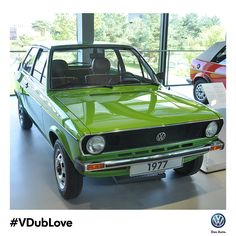 It was #VDubLove at first sight. The Mk 1 Golf, seen here in Viper Green Metallic, made its debut in 1974.