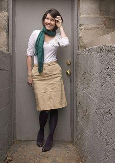 Khaki skirt + dark tights