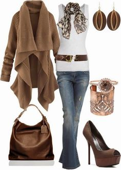 Gorgeous Brown Long Sweater and White Blouse, Scarf, High Heel Shoes, Jeans and Handbag (I would wear this with flats or boots)