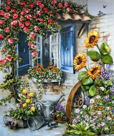 Solve jigsaw puzzle online with 56 pieces Silk Ribbon Embroidery, Embroidery Art, Landscape Art, Landscape Paintings, Cottage Art, Beautiful Paintings, Oeuvre D'art, Painting & Drawing, Watercolor Art