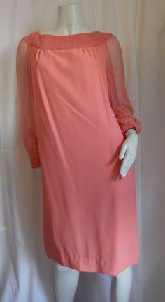 Jackie O Formal Pink Coral Silky Dress Rayon Chiffon by Prinsez05