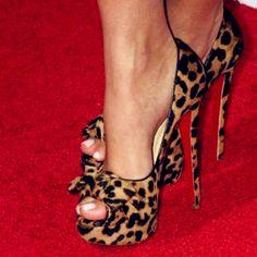 Sexy Leopard Grain Peep Toe & Bowtie Decoration High Heel Shoes
