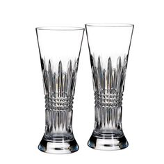Enjoy lager and pilsners in this pair of exquisite crystal Lismore Diamond Pilsner glasses. These elegant beer glasses feature the clarity and distinctive weight that have made Waterford crystal famous the world over. These are an excellent addition to any fine dining establishment, event tableware and more. Please see our website or call for decoration information. Drink up to this deal!