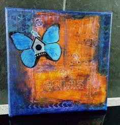 Free little birdie #mixedmedia #canvas #butterfly