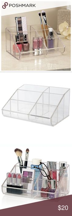 NIB Cosmetic Storage & Makeup Palette Organizer This space-saving beauty product holder puts your daily essentials all in one location and conveniently at your fingertips! Organizer has ample space for multiple compacts & small makeup palettes. Durable, heavy-duty clear design looks great on any vanity or bathroom counter. Cleans easily with mild soap and warm water. Brand new out of box! (Selling because this doesn't fit my shampoo-size & other hair product bottles as I'd hoped). Open to…