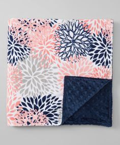 Lolly Gags 28 x 28 Navy & Coral Blooms Minky Stroller Blanket | zulily
