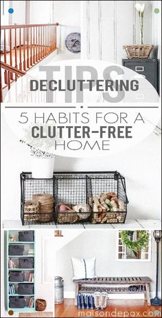 Decluttering Tips: 5 Habits for Your Home Brilliant! Simple, do-able ideas to keep a home free of clutter Declutter Your Home, Organize Your Life, Organizing Your Home, Organising, Organizing Tips, Cleaning Tips, Declutter Bedroom, Decluttering Ideas, Cheap Home Decor