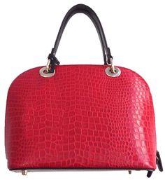 Kırmızı Renkli Yılan Derisi Görünümlü Tote Çanta