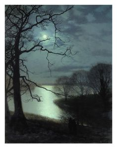 """Watching a Moonlit Lake. Elie Wiesel quote """"Night is purer than day; it is better for thinking and loving and dreaming. At night everything is more intense, more true"""" painting by John Atkinson Grimshaw"""