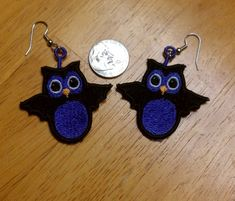 Spooky Hoot FSL Earrings Machine Embroidery Designs,  Free Standing Lace, FSL, FSL Earrings, Thread Treasures Embroidery