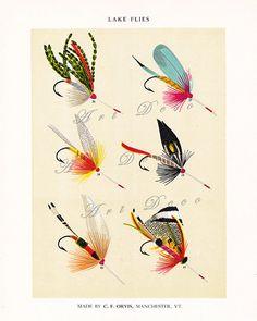 vintage fly fishing Illustration DIY printable image by ArtDeco