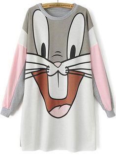 Grey Long Sleeve Bugs Bunny Print Sweatshirt pictures