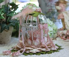 """Spring Song"" Birdcage Tealight/Place Card Holder"