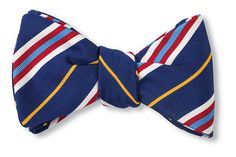 Blue Silk & Cotton Bow Tie Woven in England Hand-made in USA Click for Bow Tie Styles R. Hanauer bow ties are made to order.  If you are unsure about a colo