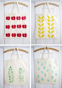 potato print on fabrics. idea for teacher gifts!
