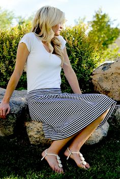 I promise this will be my last time using blue and white striped fabric for a while. I just had enough left over from my Nautical Dress t...