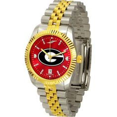 "Georgia Bulldogs NCAA AnoChrome ""Executive"" Mens Watch by SunTime. $169.20. Elegant design for the modern man or woman who wants to show their team spirit! The dial is presented in a sleek, stainless steel case and bracelet that rests fashionably yet comfortably across the wrist. Features a convenient date display, quartz accurate movement and a scratch resistant mineral crystal face. The AnoChrome dial option increases the visual impact of any watch with a stunning radial refl..."