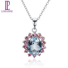 Lohaspie Gemstone Solid 18K White Gold Natural Aquamarine & Tourmaline Pendants & Necklaces For Women Fine Jewelry //Price: $US $299.00 & FREE Shipping //     #hashtag3