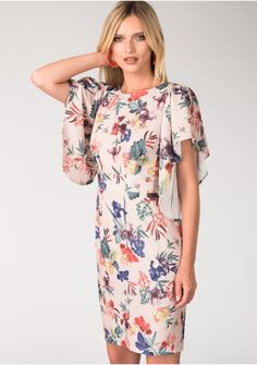 Floral Trumpet Sleeve Tie-back Pencil Dress