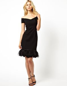 Image 4 ofLydia Bright Off Shoulder Midi Dress With Peplum and Feather Hem