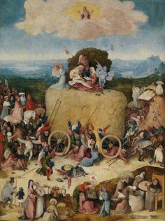 Tabla central, El Carro de Heno; Óleo sobre tabla. El Infierno. Óleo sobre tabla, 140x100cm.