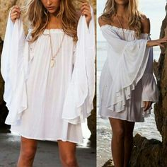 """Soft White Bohemian Off Shoulder Mini Dress Sweet and sexy Bohemian mini dress, elastic neckline off shoulders, extra large flowing sleeves. Easy comfortable straight fit. Size XL. Bust 49.6""""  Shoulder 17.5""""  Sleeve 22.7""""  Length 27.9"""". NWOT. 100% Cotton. Dresses Mini"""