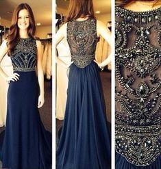 Modest Navy Prom Dress, Rhinestone Prom Dresses, Fashion Prom Dresses, Long Prom Dresses, Chiffon Prom Dresses