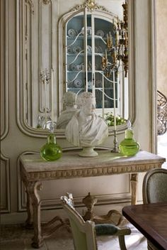 Love the Neutral tones-Console table-Mirror that reflects and Statue