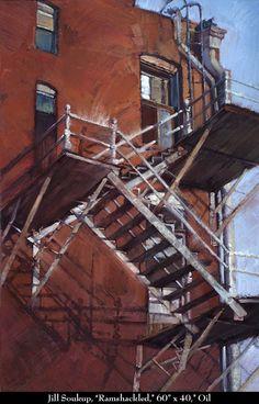"Jill Soukup, ""Ramshackled,"" 60 x 40, Oil"