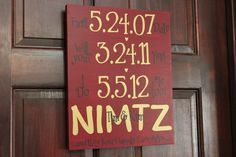 Important Dates Sign.