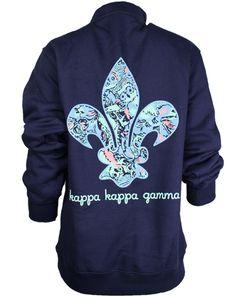 Kappa Kappa Gamma Fleur Half Zip by Adam Block Design | Custom Greek Apparel & Sorority Clothes | www.adamblockdesign.com