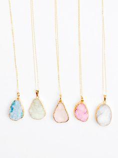 Pastel Drusy Pendant Necklace - LEIF