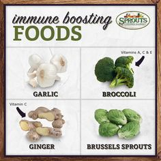 Four, tried and true go-tos for immune boosting foods. #sproutsfm #healthy #garlic #broccoli #ginger #brusselssprouts