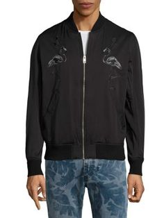 DIESEL Flam Embroidered Bomber Jacket. #diesel #cloth #jacket