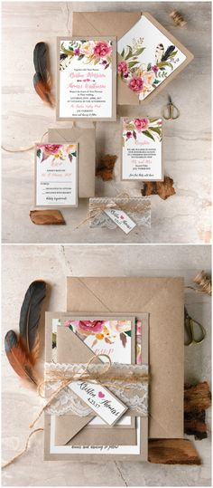 Bohemian wedding invitation with calligraphy and floral printing #wedding #boho